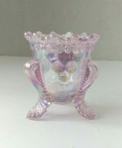FORGET ME NOT Pink Opalescent GLASS Toothpick Holder Exc-Mint MARKED BOYD