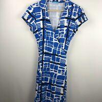 J.MCLAUGHLIN Catalina Cloth Wrap Dress S Small Blue Geometric Print