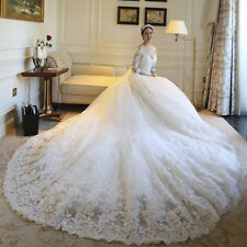 luxurious Wedding Dress Tulle A Line Applique V Neck Chapel Train Bridal Gown