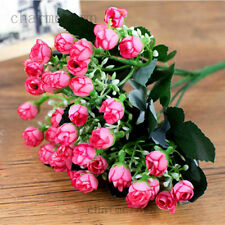 Silk Artificial Mini Rose Buds Flowers Bouquet Wedding Home Office Decor Floral