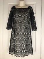 Alex Marie Tamora Lace Womens Little Black Dress Lined 3/4 Sleeve Petite Size 2P