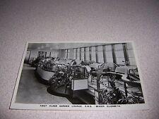 1930s FIRST CLASS GARDEN LOUNGE on CUNARD RMS QUEEN ELIZABETH SHIP RPPC POSTCARD