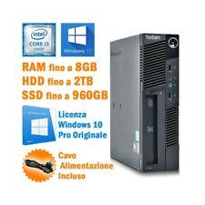 PC DESKTOP COMPUTER FISSO LENOVO THINKCENTRE M90 USFF i3 530 WINDOWS 10 PRO-