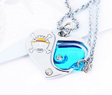 Anime One Piece pendant metal heart cosplay Necklace lovers Jewelry gift NEW