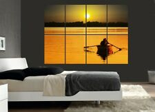 Large Lake Rowing Boat Sunset Wall Poster Art Picture Print