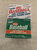 1987 1988 FLEER BASEBALL LOGO STICKERS & UPDATED TRADING CARDS SET - UNOPENED
