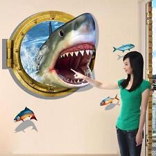 New 3D Ocean Shark Wall Sticker Decals Removable Art Vinyl Home Decor Fun