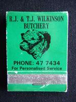 RJ & TJ WILKINSON BUTCHERY SPECIAL CUTS SMALLGOODS LAMB & BEEF 477434 MATCHBOOK