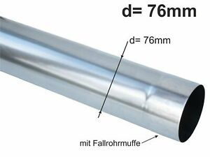Zink Fallrohr rund d= 76mm  2m (1St a'2m)