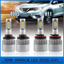 4x 9005/H11 LED Total 400W 40000LM Combo Headlight HI-LO 6000K White Kit Bulbs