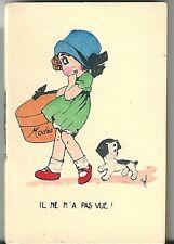 Mini calendrier almanach 1931 Illustrateur Sil Scène enfantine chien child