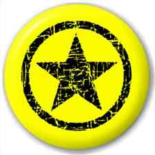 Small 25mm Lapel Pin Button Badge Novelty Yellow And Black Circle Star