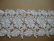 """DESIGNER FANCY WHITE LACE EMBROIDERED DAISY SCALLOP BRIDAL WEDDING 6 YDS 21"""""""