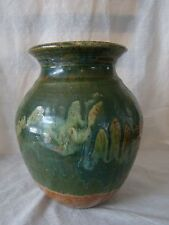 Vintage Forest Green and Natural Color Stoneware Art Pottery Vase 131552