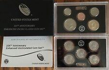 2017 US Mint 225th Anniversary Enhanced Uncirculated Coin Set - COA & Box