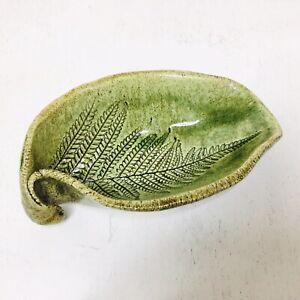 Rustic Studio Pottery Tasmania Earthenware Fern Leaf Pin Dish Glazed Trinket