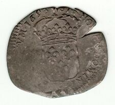 French Colonial, 1693 H recoined billon sol of 15 Deniers, La Rochelle mint