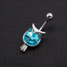 Surgical Steel Blue Crystal Owl  Dangle Piercing Belly Button Navel Belly Bar