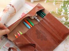 Fashion Pencil Pen Case Cosmetic Pouch Pocket Brush Holder Makeup Bag Retro