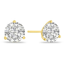 1CT 14K Yellow Gold Natural Diamond Martini Stud Earrings