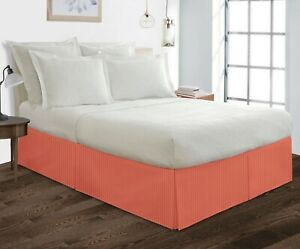 """600 Thread Count 100% Egyptian Cotton Bedding 1X Bed Skirt 12"""" Inch Drop Stripe"""