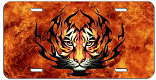 CUSTOM LICENSE PLATE FLAMING TRIBAL TIGER AUTO TAG