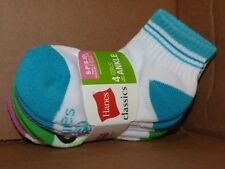 NEW HANES Classics 4 PAIR Girls Ankle Socks S Small 6-10 1/2 S Small NEW NWT