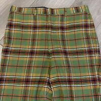 Vintage 70s Plaid Pleated Dress Pants Mens 36 X 30 L Green Formal Made in USA