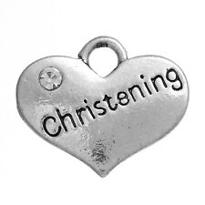 5 argent antique baptême strass coeur charme ~ collier ~ bracelet ~ ()