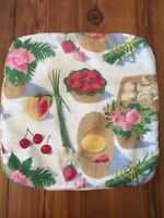 Vintage  Barkcloth Shabby Cottage Throw Pillow Cover with Zipper