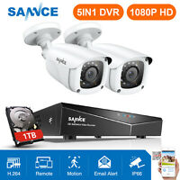 SANNCE 4CH CCTV DVR 2X 1080P TVI 3000TVL Ngiht Vision Security Camera System 1TB