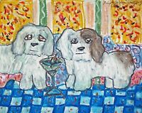 Coton deTulear drinking a martini Dog Folk Art Print 8x10 Signed by Artist KSams