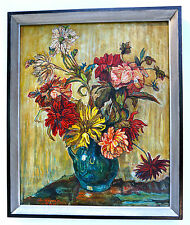 """Fantástico Pintura al óleo en madera pintado:""""Flores de otoño"""",firmado enmarcado"""