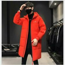 Men Winter Casual Thicken Warm Classic Puffer Jacket Long Down Coat with Hooded