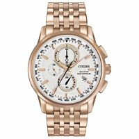 Citizen Eco-Drive Men's AT8113-55A World Chronograph Rose Gold 43mm Watch