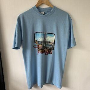 Vintage Single Stitch T-Shirt Size L Baby Blue San Francisco Photo Graphic Print