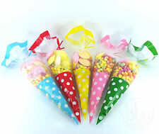 CELLOPHANE CONE POLKA DOTS CLEAR PARTY FAVOR BAGS LARGE CELLO- TWIST TIES