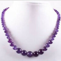 "Lovely 6-14mm Purple Amethyst Round Gemstone Beads Necklace 18"""