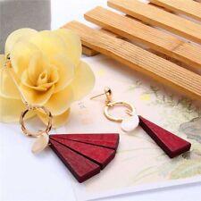 1pc Fashion Asymmetric Drop Earrings Wooden Long Tassel Dangle for Women Red