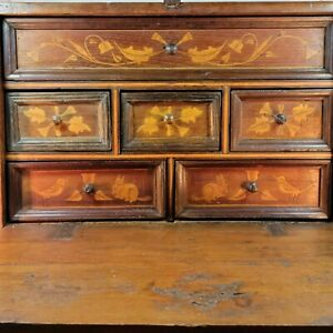 Antique 17th / 18th Century Inlaid Apothecary Cabinet /  Spice Cabinet