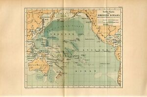 1885 PACIFIC OCEAN DEEP WATERS Antique Fold Out Map