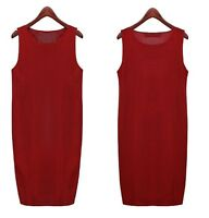 Vintage Women Casual Knit Sweater Sleeveless Vest loose style Long Dress