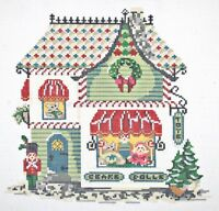 Needlepoint Handpainted KELLY CLARK Christmas Village Toy Shop w/ Stitch Guide