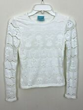 New listing Letarte Hawaii Womens Top Cover Up Bathing Suit Swimwear Shirt White Lace Small