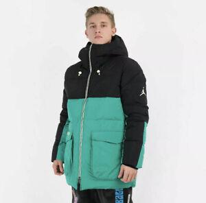 Air Jordan Down-Fill Parka Jacket CK6661 011 Black/Green-Pink Men's Size L $275