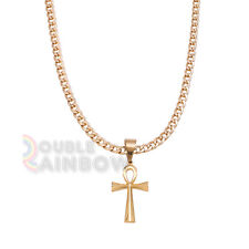 """P47 20-36""""Mens Stainless Steel Egyptian Ankh Cross Pendant Necklace Chain"""