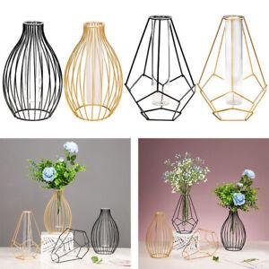 Iron Art Frame Flower Vase Tube Glass Planter Centerpiece Plant Holder Home