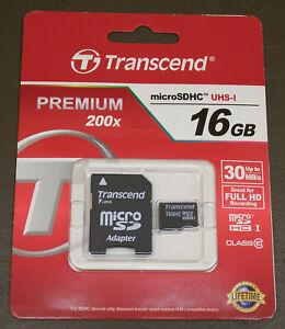 NEW Transcend 16GB MicroSDHC Memory Card + Adapter MicroSD UPC 760557817888