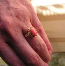 Vintage Size 8 Estate 830s Silver & Genuine Red Coral Oval Ring Square