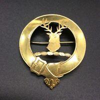 9CT 375 GOLD BROOCH JOHN HART IONA SCOTTISH CLAN FAMILY CREST STAGS HEAD BROOCH